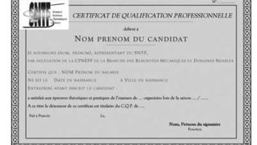 exemple d attestation de qualification professionnelle