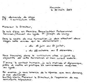 Exemple D Une Demande Manuscrite