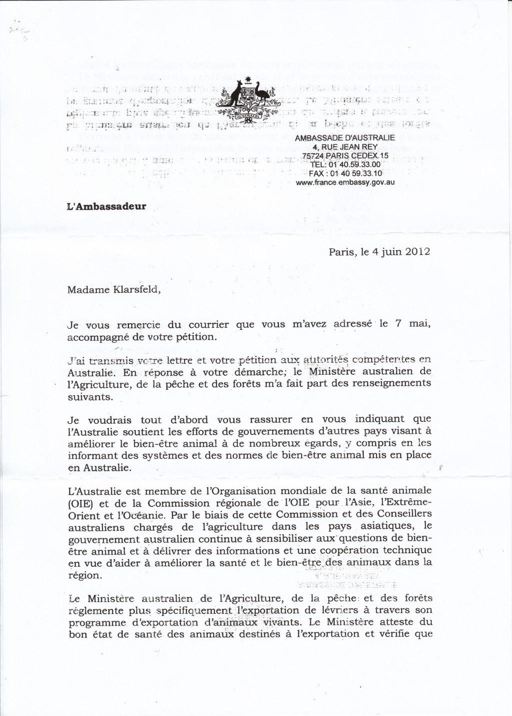 modele lettre a un ambassadeur