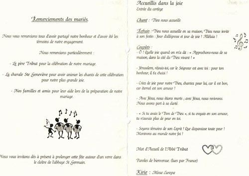 exemple de livret eglise mariage - Exemple De Livret De Messe Mariage