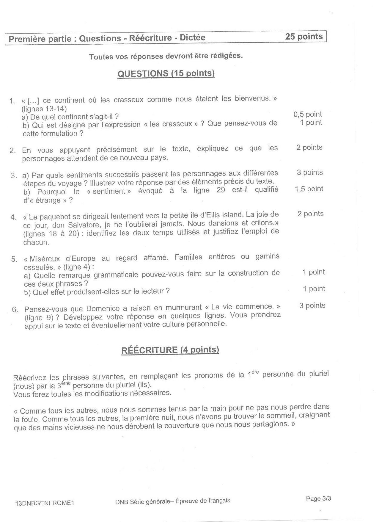 exemple de brevet des colleges 2013