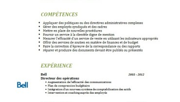 exemple de cv quebec