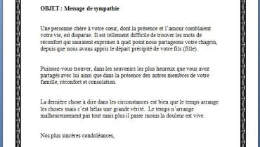 exemple de lettre de condoleance