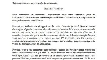exemple de lettre de motivation pour un emploi