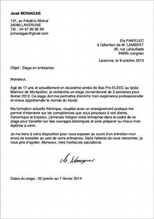 exemple de lettre de motivation pour un stage