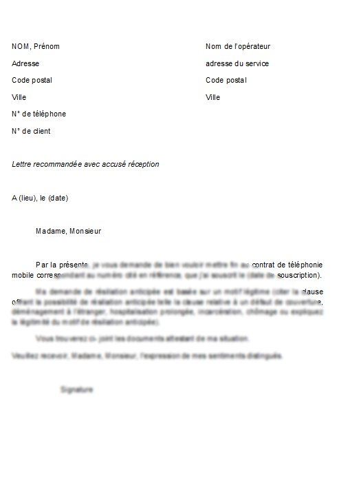 exemple de lettre de resiliation b u0026you