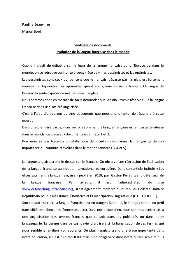 exemple de synthese de document