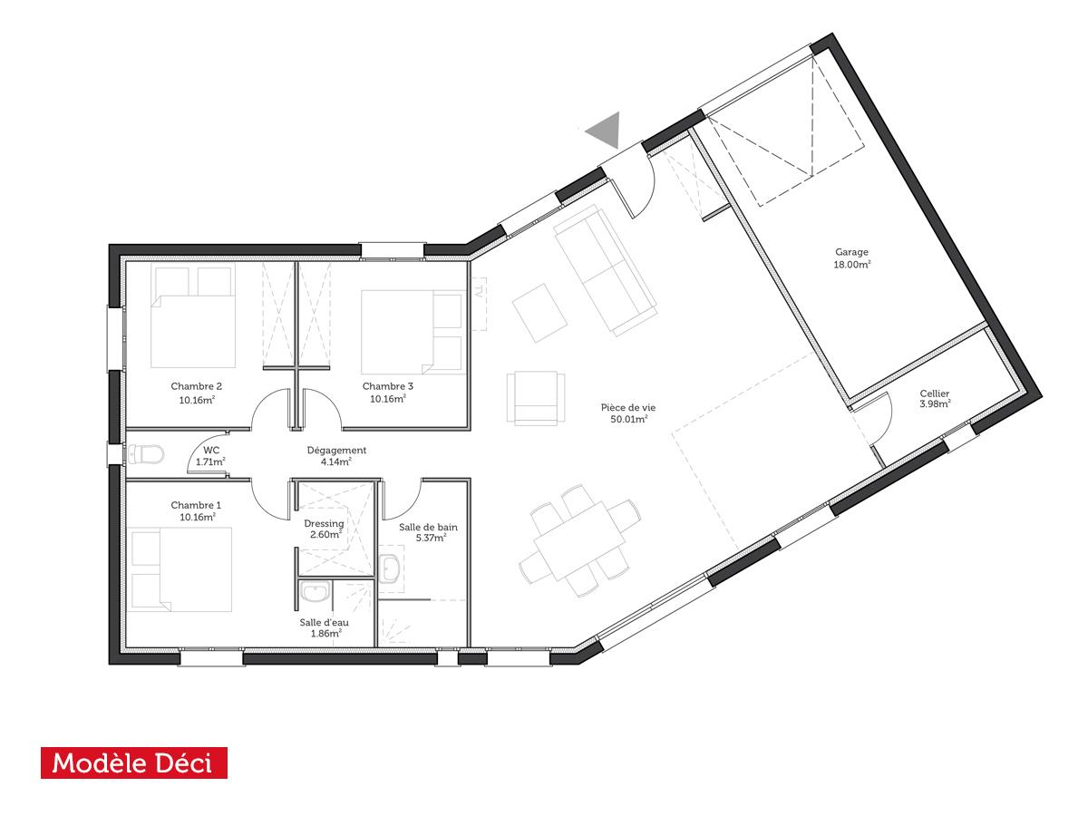Plan maison en v 100m2 for Exemple de plan maison