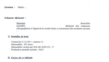 exemple de declaration de creance