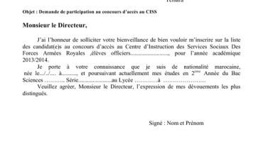 exemple de demande manuscrite pour concours