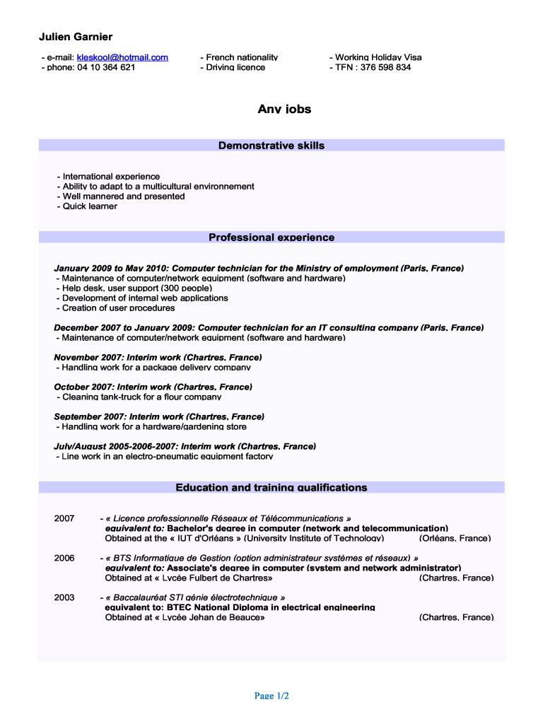 Exemple cv restauration en anglais for Restauration emploi