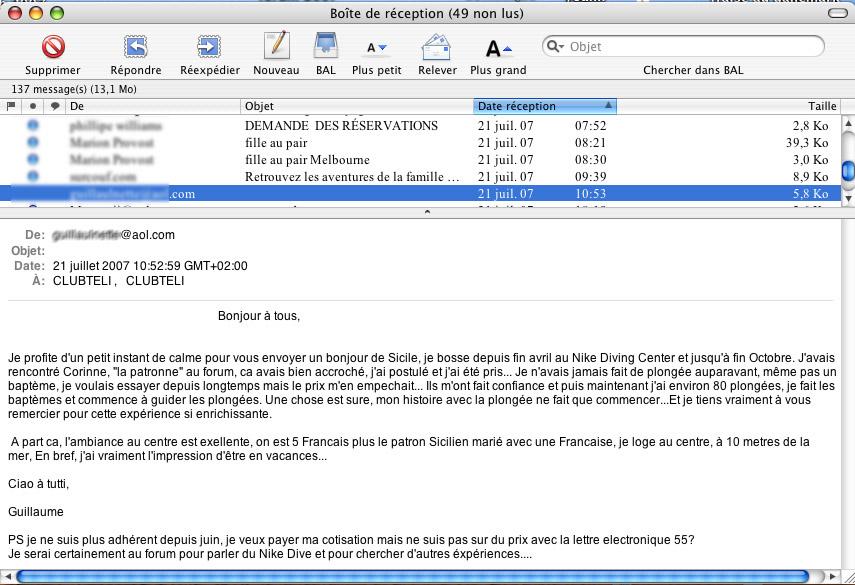 exemple de e-mail