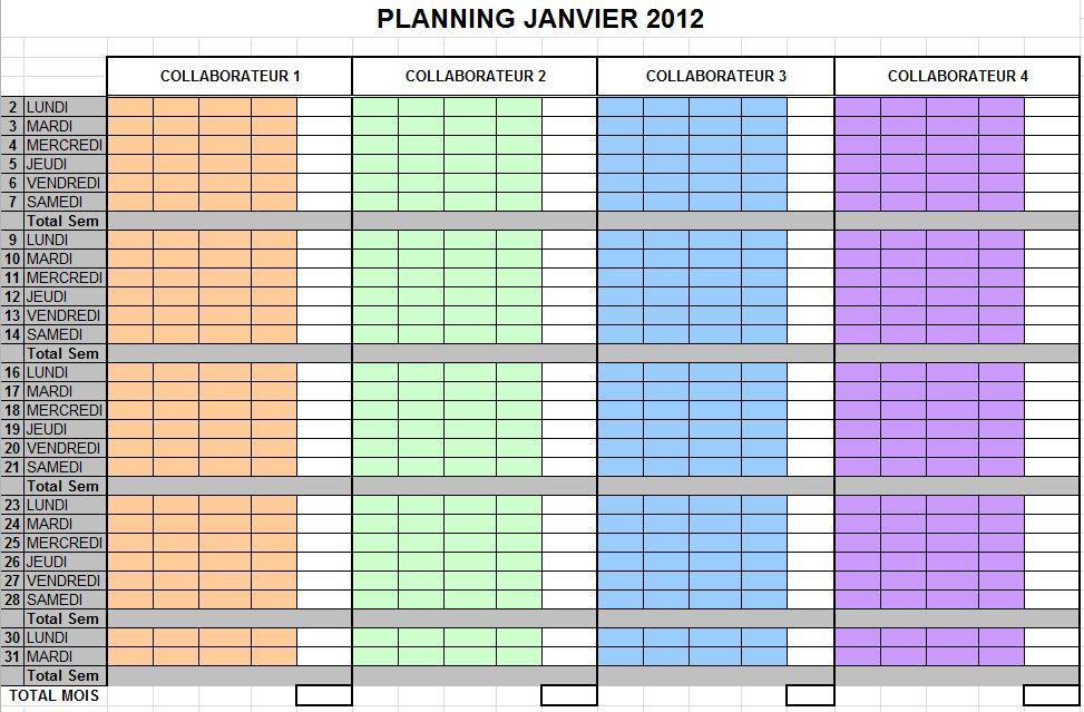 modele planning 4 personnes