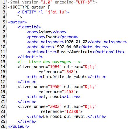 exemple de programme xml