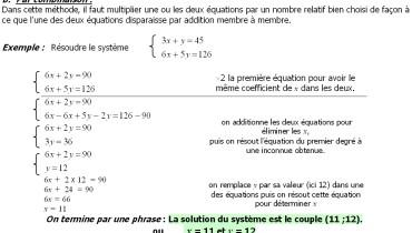 exemple de systeme a 2 inconnues