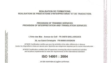 exemple de certification iso 9001