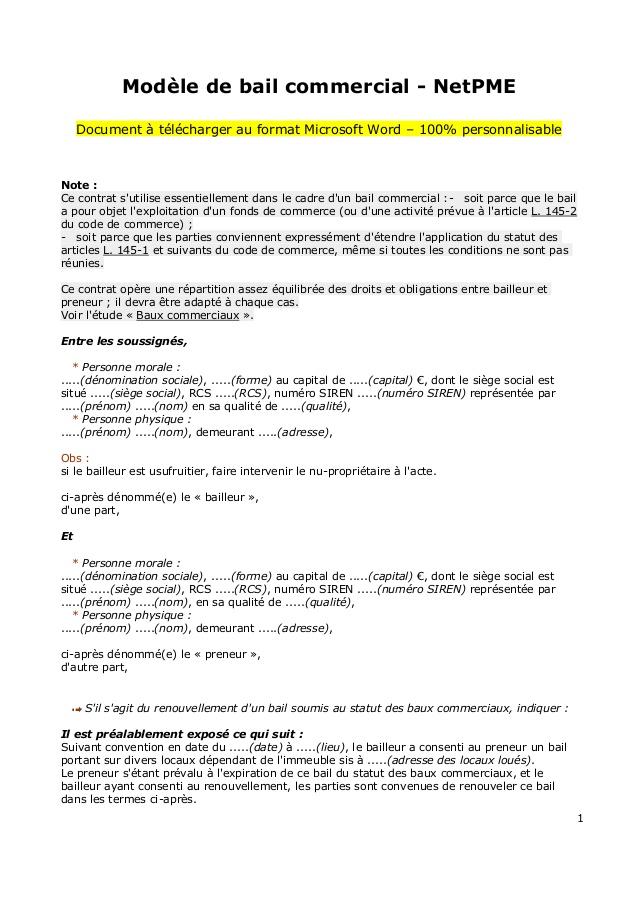 Exemple De Bail Professionnel