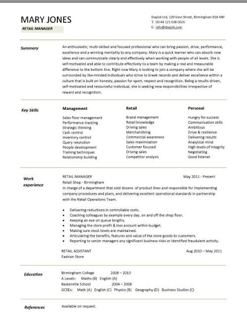 exemple cv 1 page