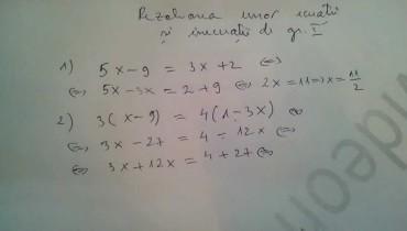 exemple de ecuatii de gradul 1