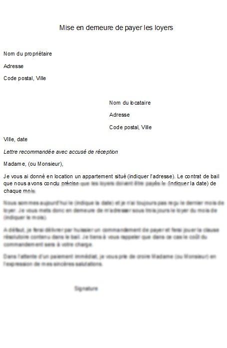 Exemple de lettre de mise en demeure - Meubles mise en demeure ...