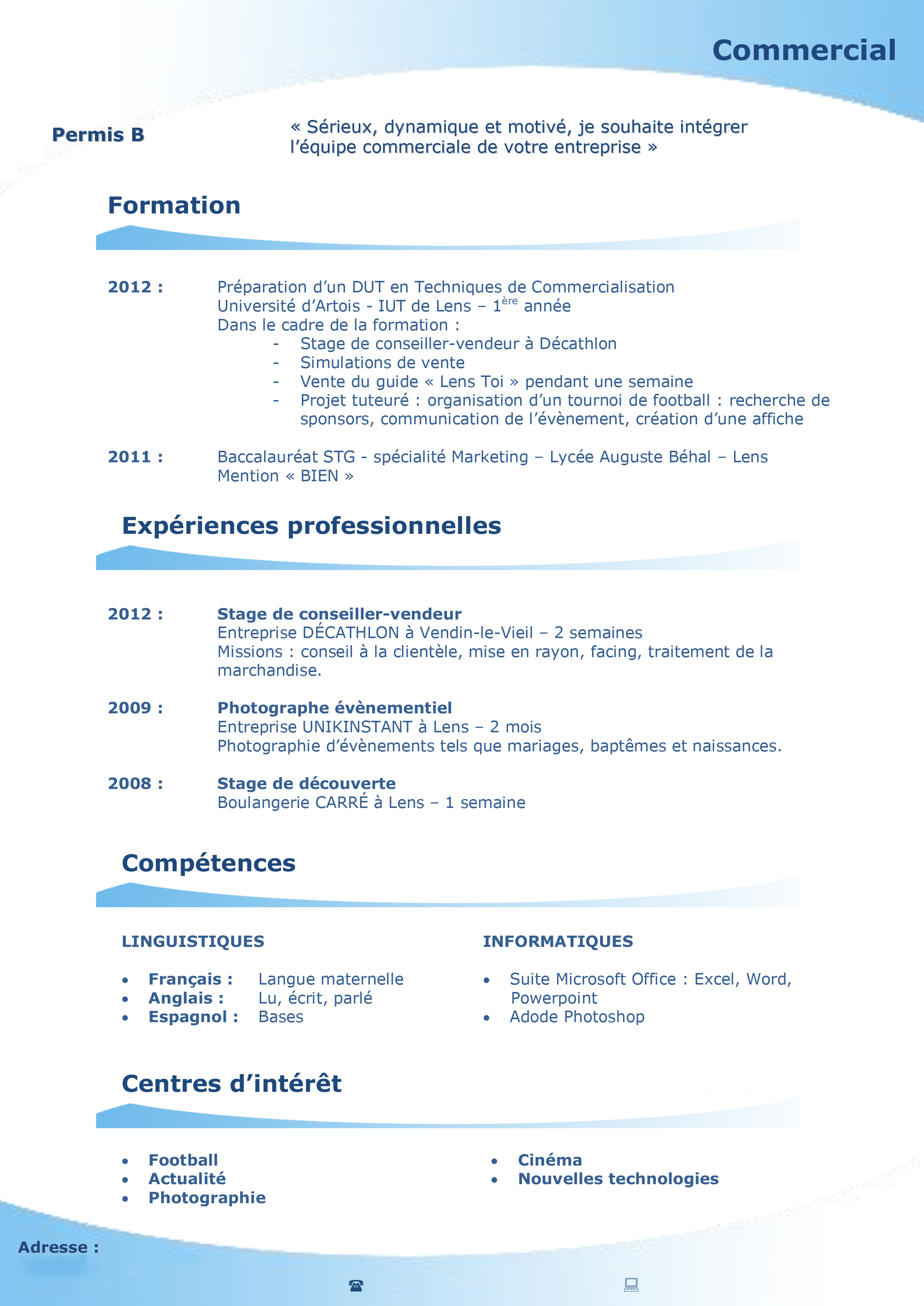 exemple cv etudiant pour iut